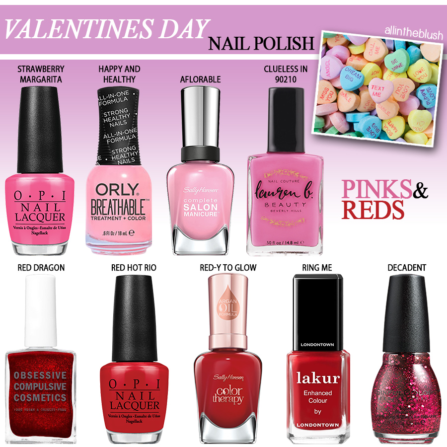 red & pink nail polishes