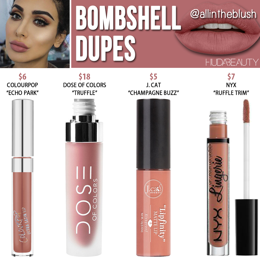 Huda Beauty Bombshell Liquid Matte Lipstick Dupe