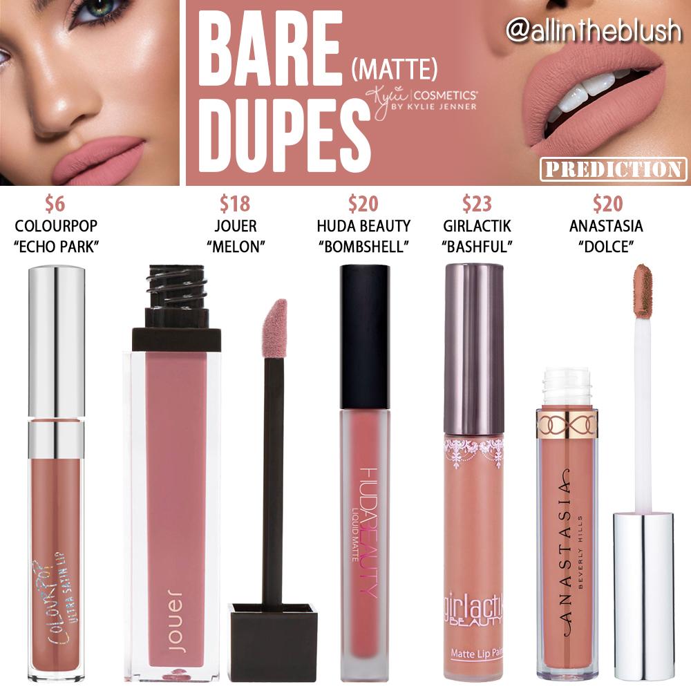 Kylie Cosmetics Bare Matte Liquid Lipstick Dupes Vacation