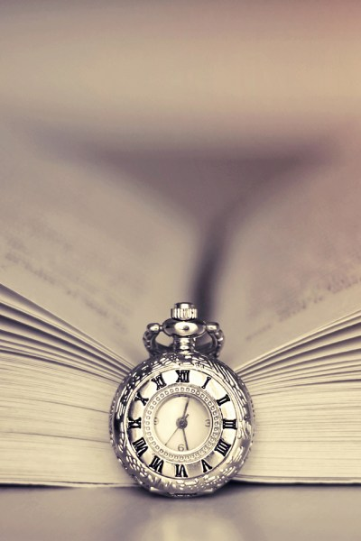 Clock and Book iPhone Wallpaper HD