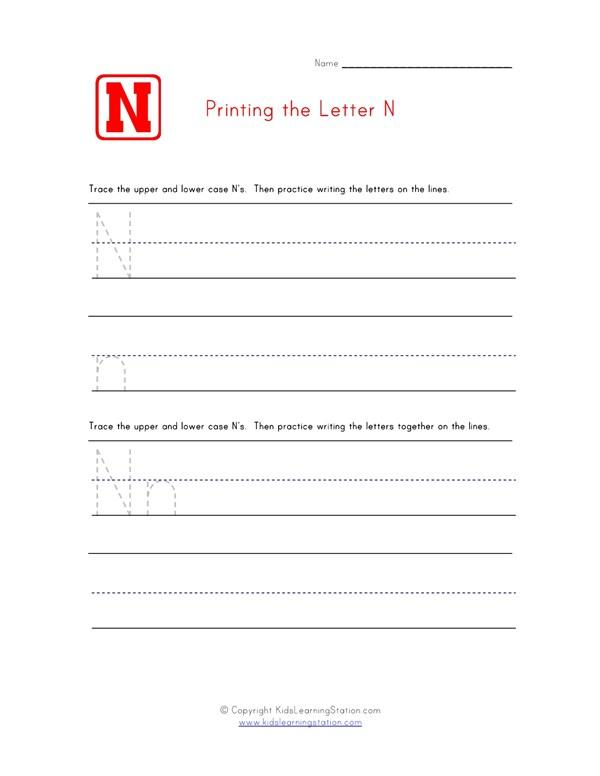 Practice Printing - Alphabet Worksheet Letter N All Kids Network