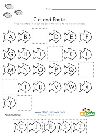 Fish Cut and Paste Missing Letters Worksheet All Kids Network