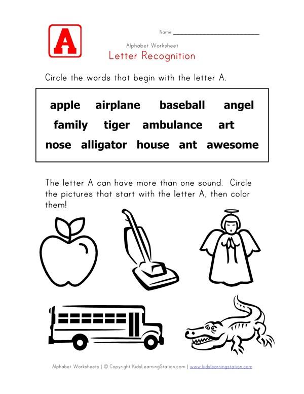 Letter A Words Recognition Worksheet All Kids Network