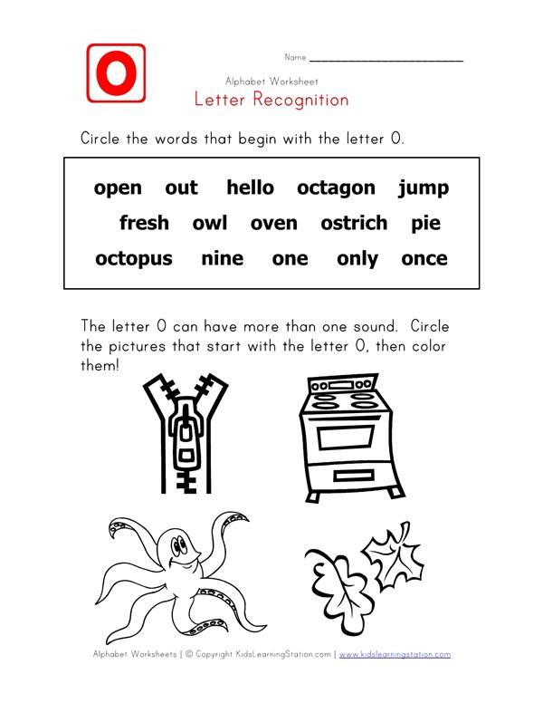 Letter O Words Recognition Worksheet All Kids Network
