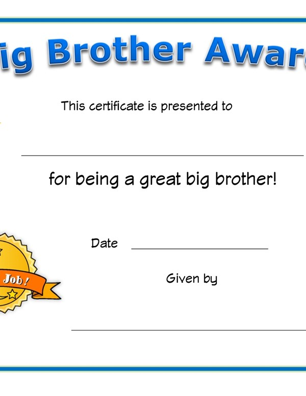 Big Brother Award Certificate All Kids Network - printable math awards