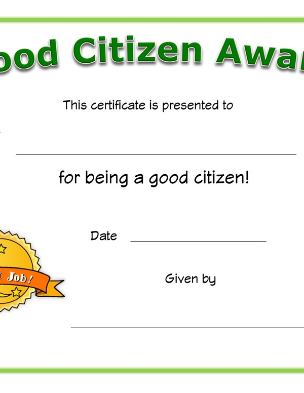 Good Citizen Award Certificate All Kids Network