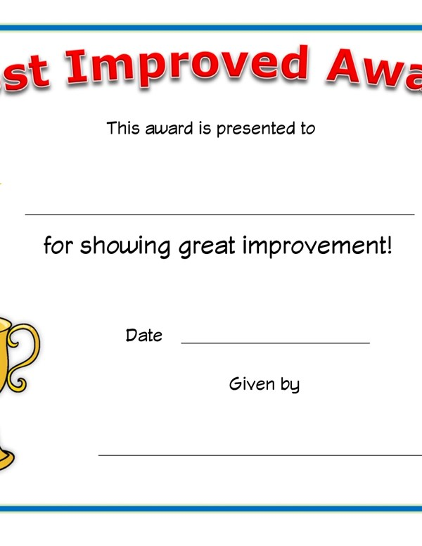 Most Improved Award Certificate All Kids Network