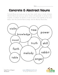 Concrete Abstract Nouns Worksheet - Rcnschool
