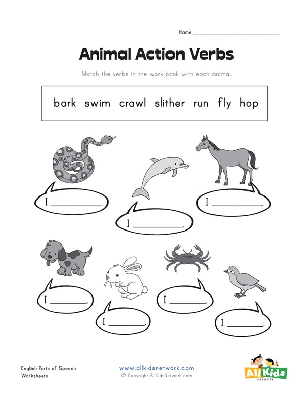 Animal Action Verbs Worksheet All Kids Network