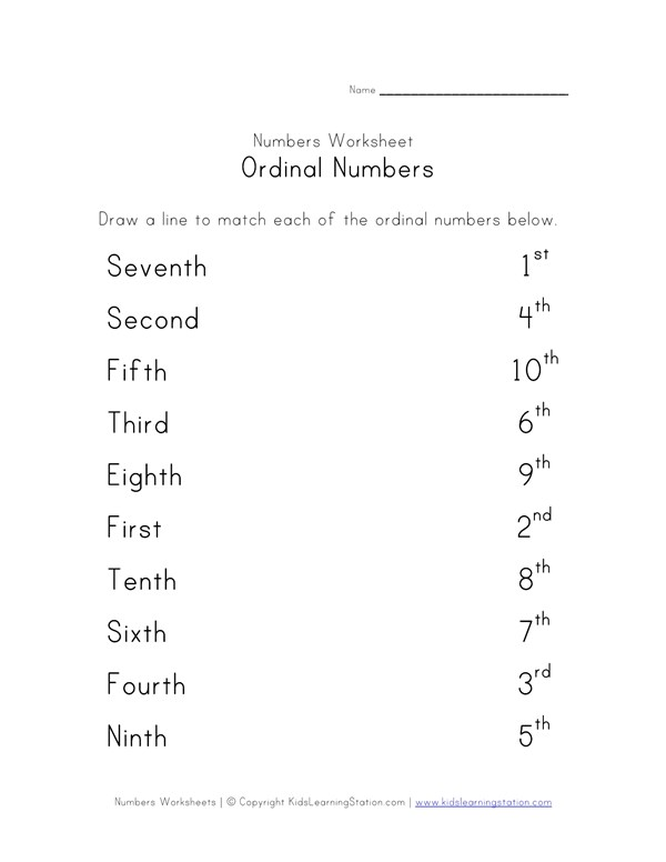 Match Ordinal Numbers Worksheet All Kids Network