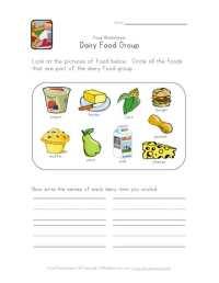 Dairy Food Group Worksheet