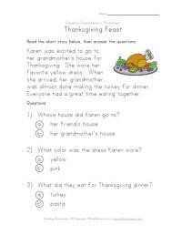 Thanksgiving Reading Comprehension Worksheet