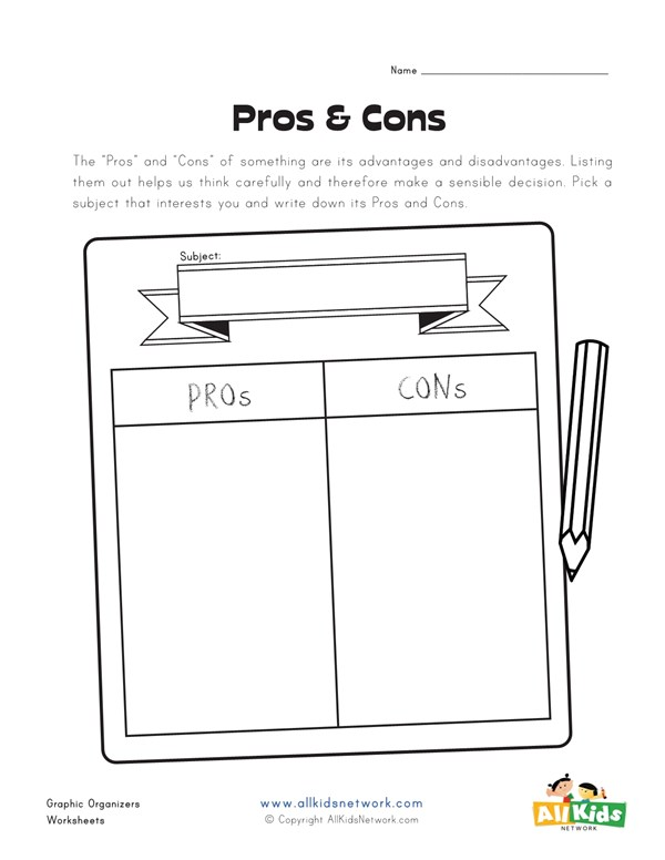 Graphic Organizer for Pros and Cons All Kids Network
