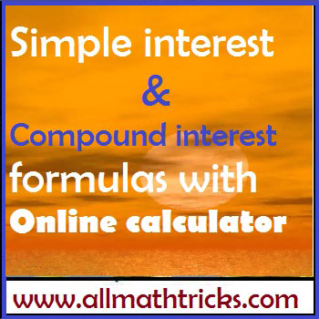 Simple interest and Compound interest formulas with Online calculator
