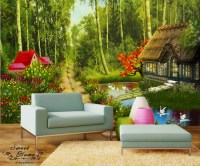 Green Forest Cottage Landscape Full Wall Mural Print ...