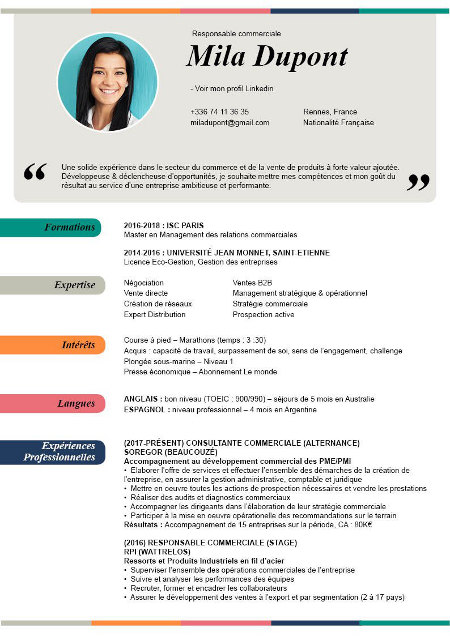 mise en page cv avec photo