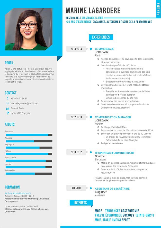 cv avec differentes experiences