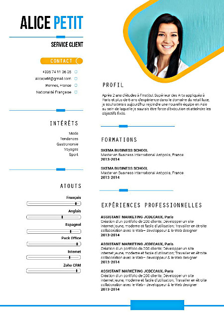 faire un cv flat design sur word