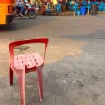 The pink chair stands alone on a Bangkok street throwbackhellip
