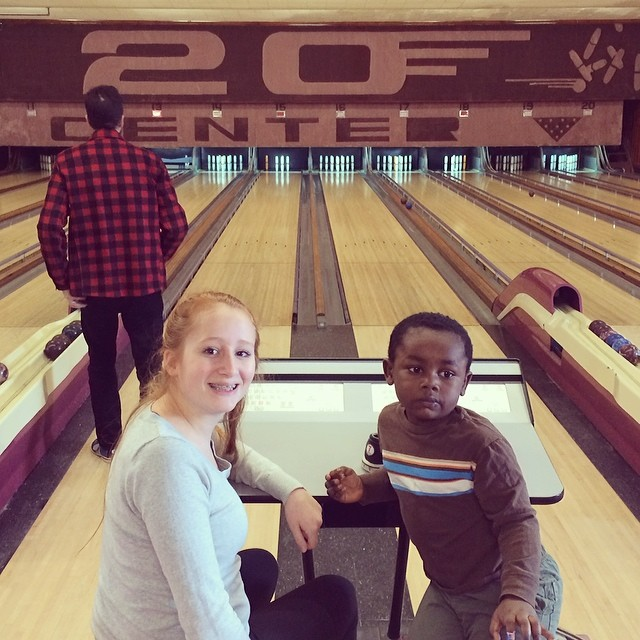 Candlepin bowling in winter in Portland, Maine.