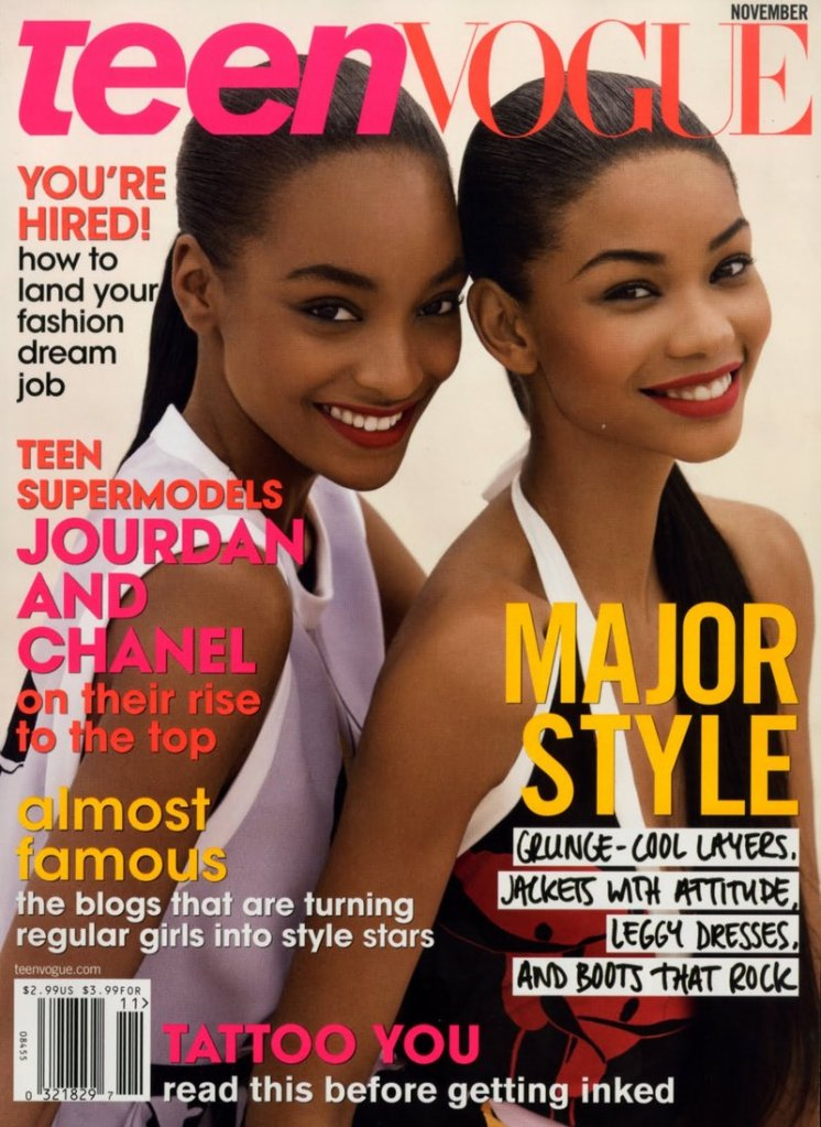 Chanel Iman with Jourdan Dunn on the cover of Teen Vogue