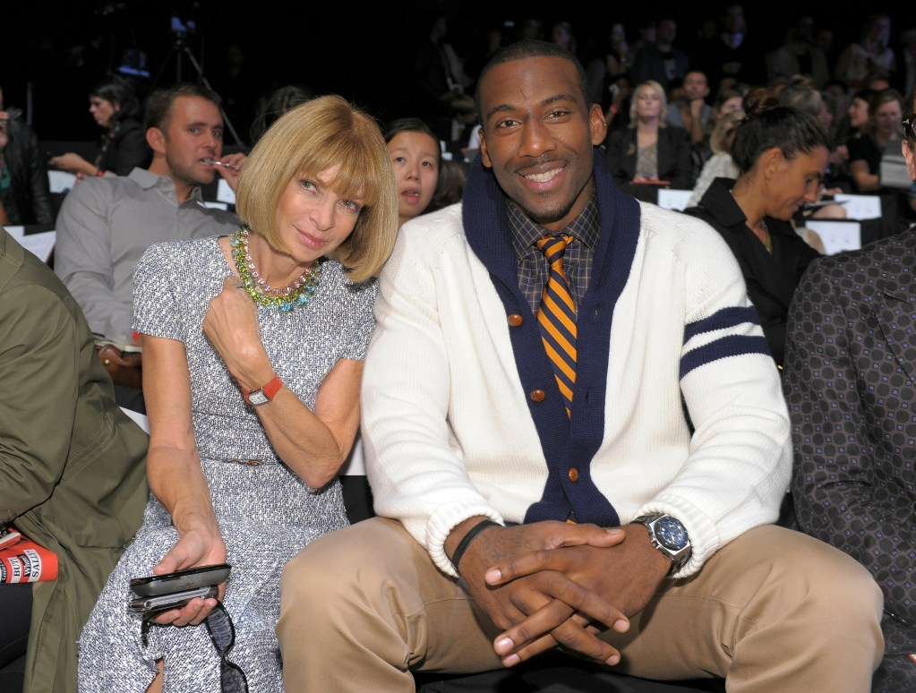 Anna Wintour, Editor-in-Chief of Vogue and Amar'e Stoudemire at Tommy Hilfiger S/S 2011