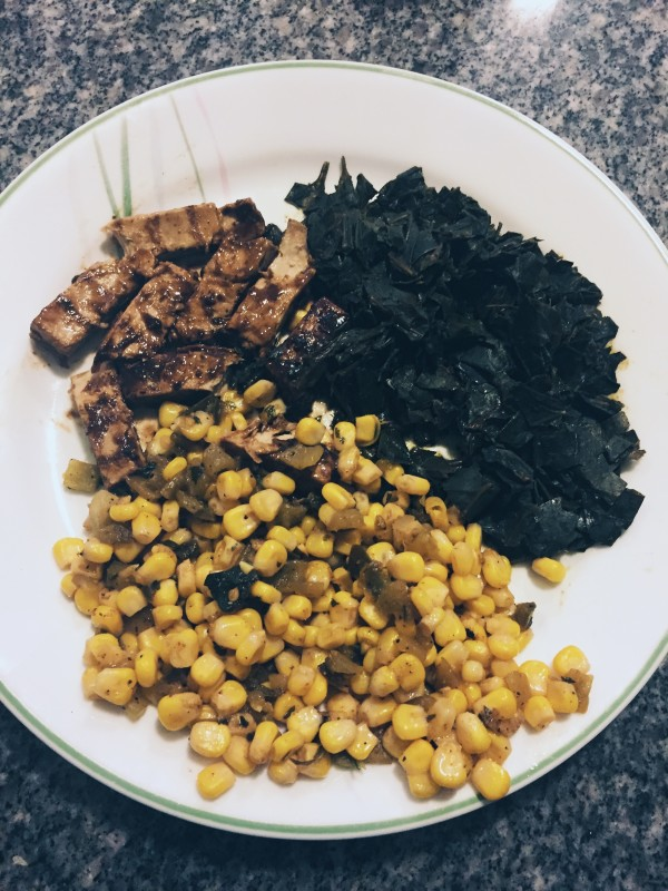Vegan Jamaican Jerk Chicken with Collard Greens, Corn, Green Chiles, and Jalapenos (Recipe & photo by LoudPen)