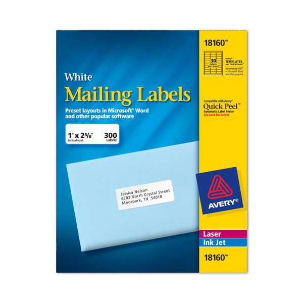 Avery Labels - 8160, self adhesive address labels - 30 labels per