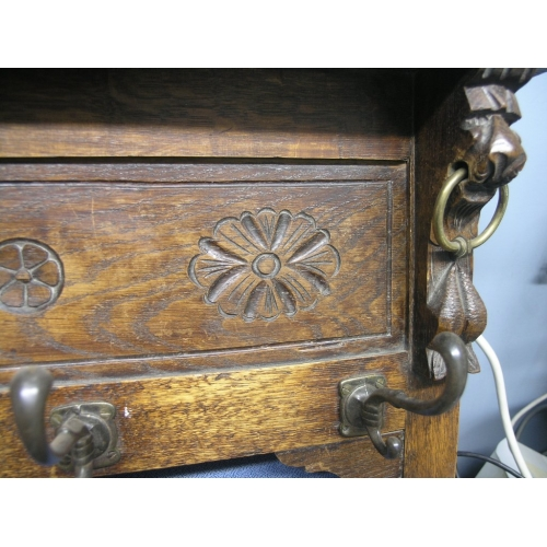 Antique Wood Hanging Coat Rack 5 Hooks Allsoldca