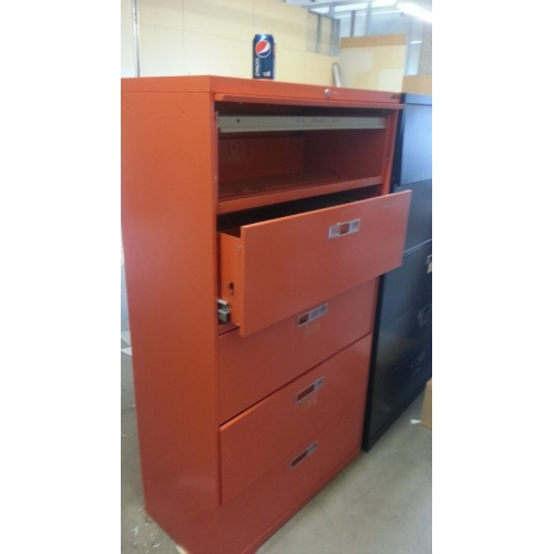 Orange Locking Lateral Filing Cabinet 5