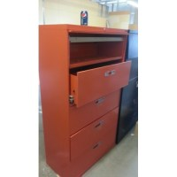 Orange Locking Lateral Filing Cabinet 5-Drawer Flip Front ...
