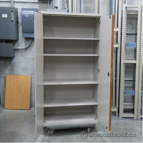Beige 2 Door Metal Storage Cabinet With Adjustable Shelves