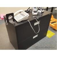 Hon Black 2 Drawer Lateral File Cabinet, Locking - Allsold ...