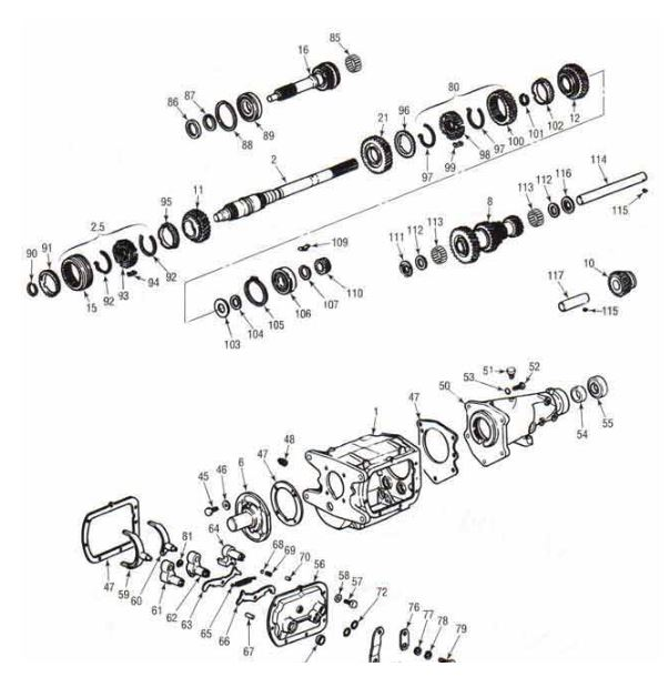 Saginaw 3 and 4 Speed Diagram - Chevrolet Transmission Repair Parts