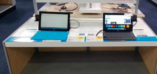 The empty, barren, ugly Surface Pro display at Best Buy