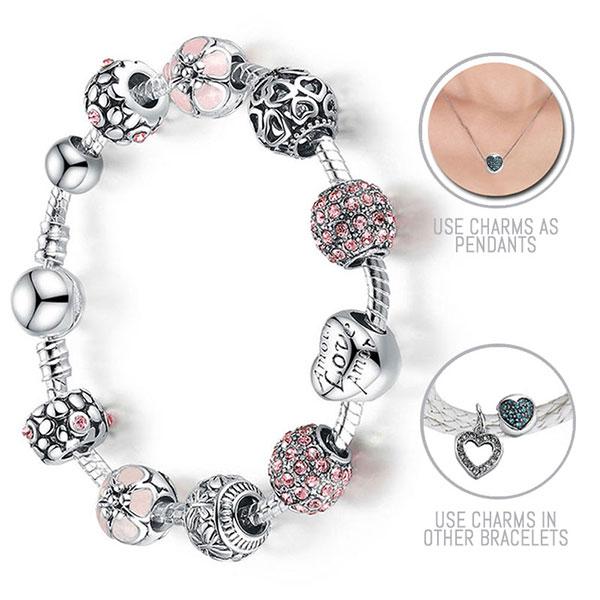 Lovely Pink Cherry Blossoms Silver Pandora Style Bracelet
