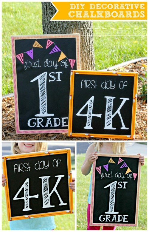 "DIY Decorative Chalkboards.  Perfect for ""First Day of School"" pictures, welcome signs for your favorite teacher's classroom, or to hang in the homework area of your home. 