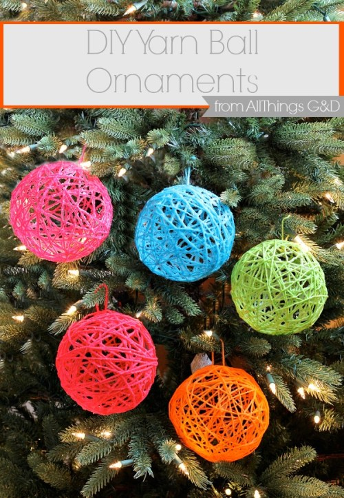 All you need is yarn, glue, and balloons to make these eye-catching DIY Yarn Ball Ornaments! Post includes a side-by-side comparison of best glues to use. | www.allthingsgd.com