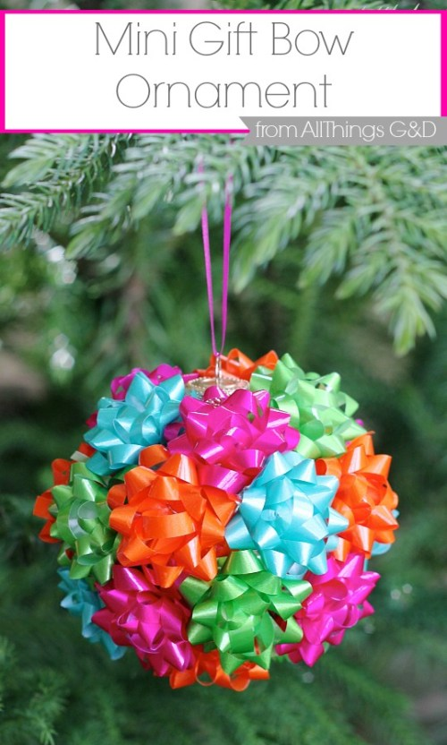 This DIY mini gift bow ornament is the easiest thing you'll make this holiday season.  Enjoy it on your tree or tape to a present for added (and reusable!) flair! | www.allthingsgd.com