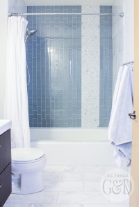 Marble and Glass Tile Bathroom Makeover - All Things G&D
