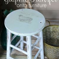 Graphic Transfer on Painted Stool