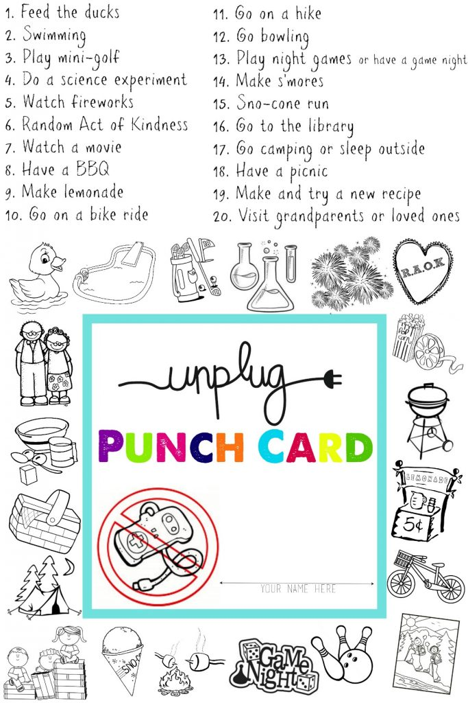 Unplugged for Summer Free Printable Punch Cards! All Things Thrifty