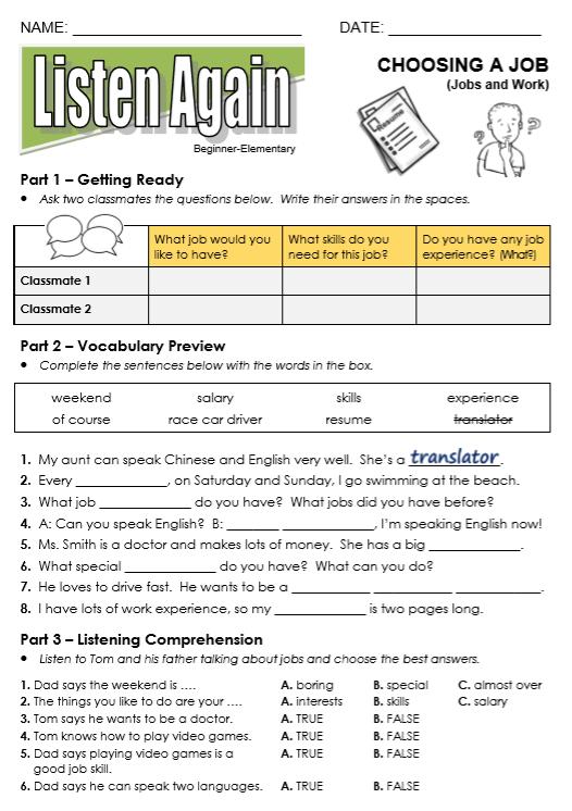 english intermediate level cv