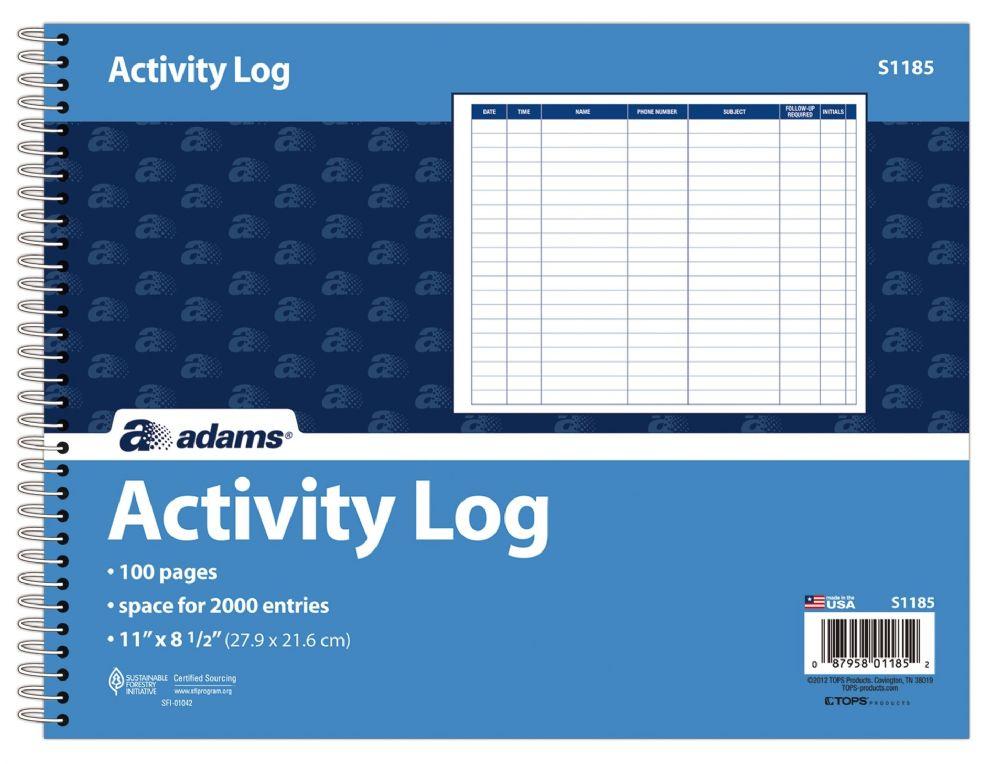 10 Units of Adams Activity Log, Spiral Bound, 50 PG - Office