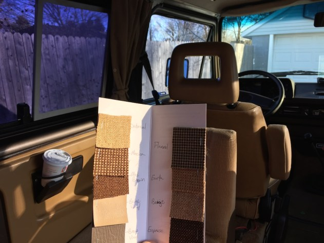 Sewfine has a few different materials that match the tan/brown Vanagon interior and they'll send you samples if you call to request them.