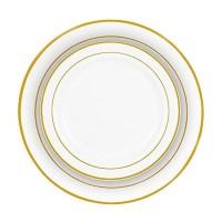 Gold Rim Bulk Dinner Wedding Disposable Plastic Plates ...