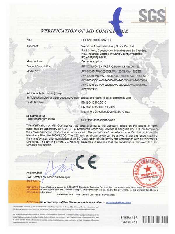 Certificate of qualification-Allwell Machinery China Excellent Non