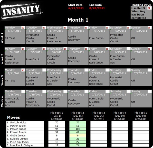 Insanity Workout Schedule PDF  Calendar - AllWorkoutRoutines
