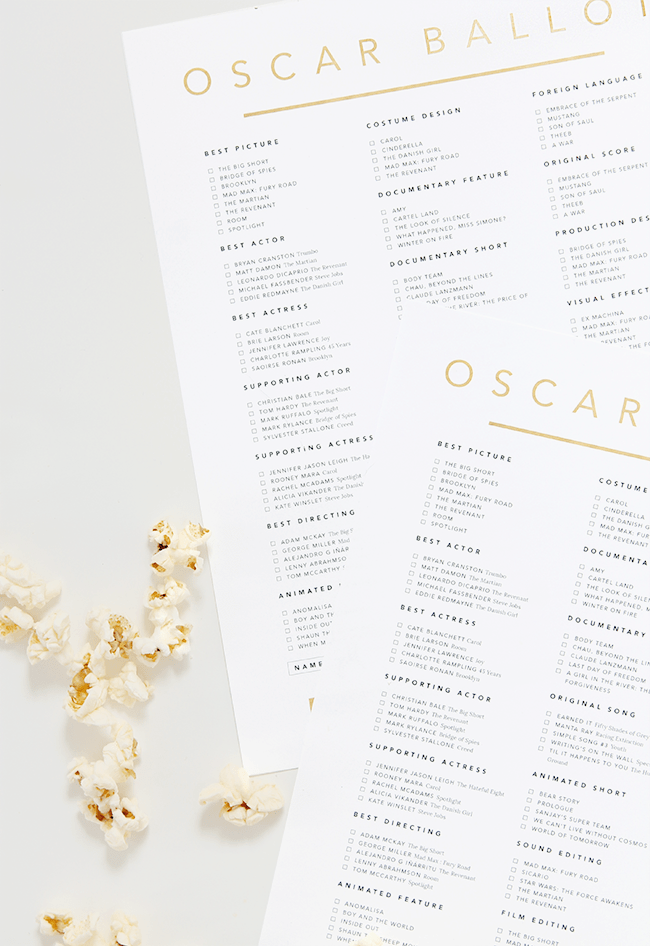 printable oscar ballot 2016 | almost makes perfect