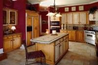 red and beige Kitchen |